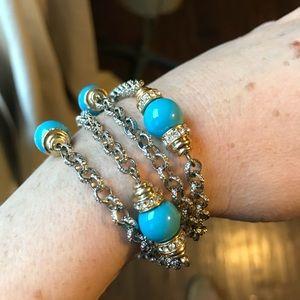 Turquoise, Rhinestone, Gold & Silver Bracelet